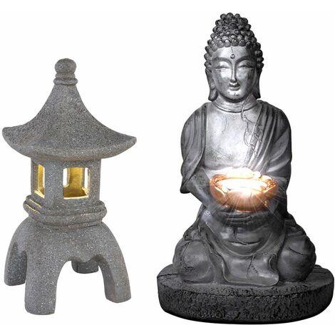 Buda solar para exterior linterna de piedra japonesa pagoda decoración de jardín lámpara solar de Buda, gris, 1x LED, jardín