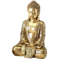 Buddha Deko Figur gold, Kunstharz Höhe 39 cm