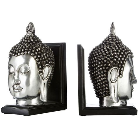Buddha Head Bookends, Set of 2, Polyresin