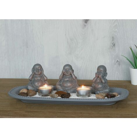 """main image of """"Buddha Meditating Ornaments with Tealight Holders and Zen garden"""""""