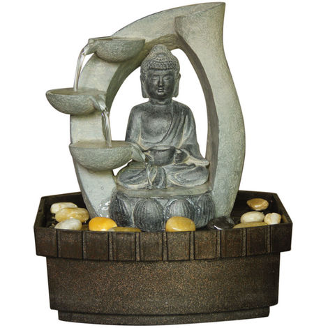 Buddha Tabletop Indoor Fountain / Water Feature - 3 Tier Cascade with Pebbles