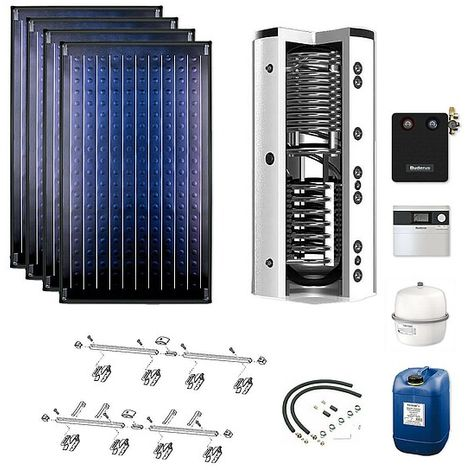 Buderus Solarpaket Logaplus S76, 4 x SKN 4.0 Kollektoren mit Zubehörpaket und 750 l Speicher