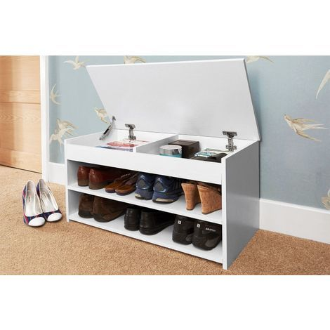 BUDGET SHOE CABINET STORAGE RACK ORGANIZER STORES UP TO 8 PAIRS OF SHOES WHITE