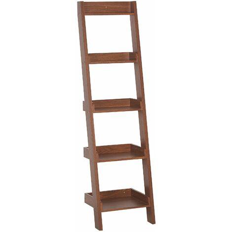 Bücherregal Dunkler Holzfarbton MDF Platte 166 x 44 x 36 cm Modern Hochfunktionell Viel Stauraum Pflegeleicht Wohnzimmer