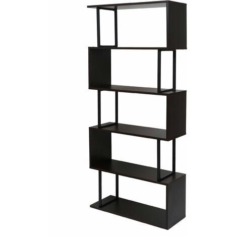 Bücherregal HHG-091, Standregal Wohnregal, 183x80cm 3D-Struktur 5 Ebenen