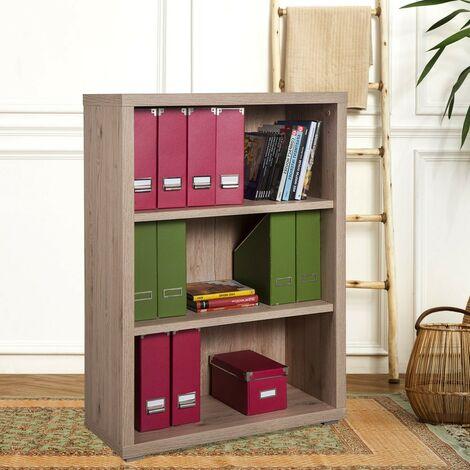 Bücherregal Klein Echtholz 3 Ebenen Modern Design Für Büro Arbeitszimmer Simple