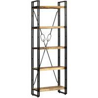 Bücherregal mit 5 Ablagen Massivholz Mango & Stahl 60×30×180 cm