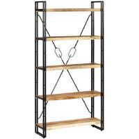 Bücherregal mit 5 Ablagen Massivholz Mango & Stahl 90×30×180 cm