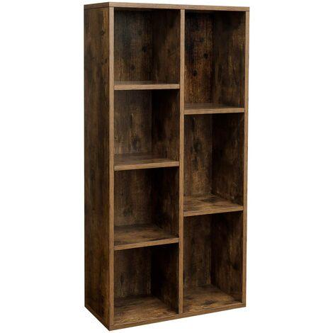 Bücherregal mit 7 Fächern Bücherschrank TV-Ständer Display-Regal 50 x 24 x 106cm Eichefarben/Weiß/Vintage