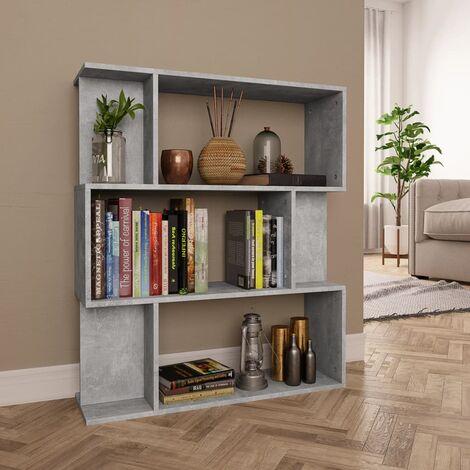 Bücherregal/Raumteiler Betongrau 80×24×96 cm Spanplatte