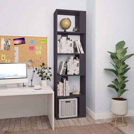 Bücherregal/Raumteiler Grau 45×24×159 cm Spanplatte
