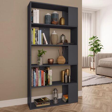 Bücherregal/Raumteiler Grau 80×24×159 cm Spanplatte