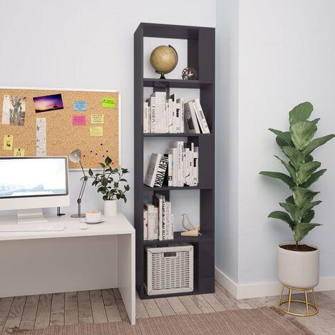Bücherregal/Raumteiler Hochglanz-Grau 45×24×159 cm Spanplatte