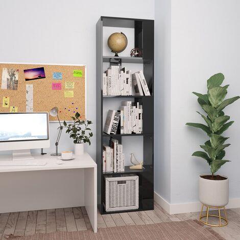 Bücherregal/Raumteiler Hochglanz-Schwarz 45×24×159cm Spanplatte