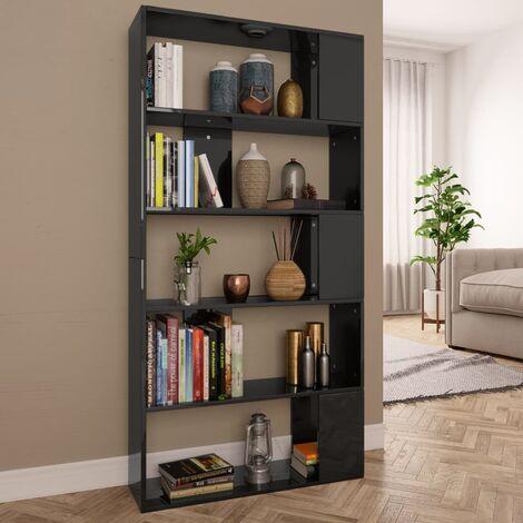 Bücherregal/Raumteiler Hochglanz-Schwarz 80×24×159cm Spanplatte