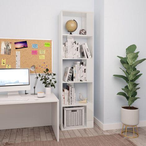 Bücherregal/Raumteiler Hochglanz-Weiß 45×24×159 cm Spanplatte