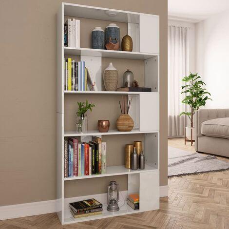 Bücherregal/Raumteiler Hochglanz-Weiß 80×24×159 cm Spanplatte