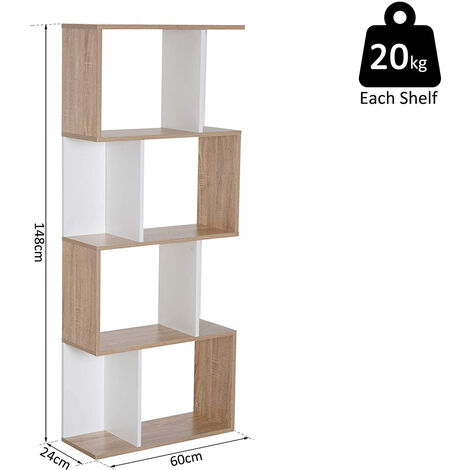 Bücherregal, Raumteiler mit 4 großen, Fächern Wandregal, Standregal Aktenregal, Raumtrenner, Büroregal, 60*24*148cm, Weiße Eiche