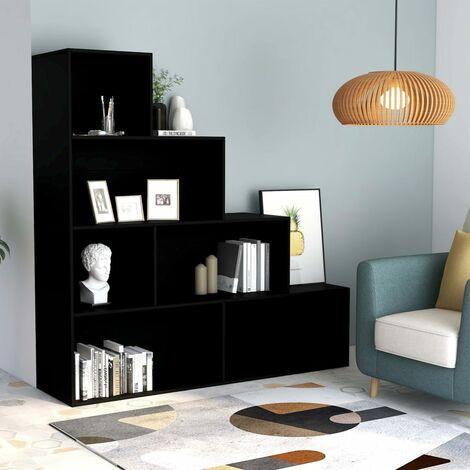 Bücherregal/Raumteiler Schwarz 155 x 24 x 160 cm Spanplatte