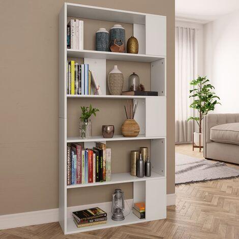 Bücherregal/Raumteiler Weiß 80×24×159 cm Spanplatte