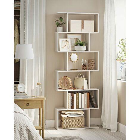 Bücherregal Regal aus Holz, Standregal zur Vorführung, freistehende Schrank, Dekoregal mit 6 Ebenen, weiß, LBC61WT - White