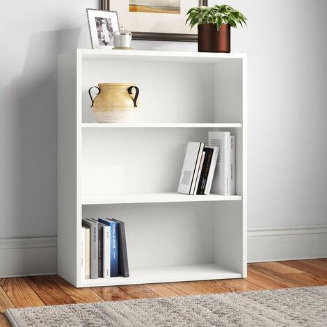 Bücherregal Weiß Recycled Holz Klein 3 Ebenen Höhenverstellbar Easyread