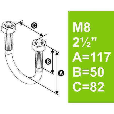 """Bügelschraube feuerverzinkt mit Muttern, 2 1/2"""" (76,1 mm) bis 82 mm - M8"""