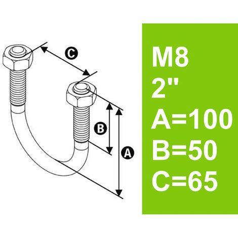 """Bügelschraube feuerverzinkt mit Muttern, 2"""" (60,3 mm) bis 65 mm - M8"""