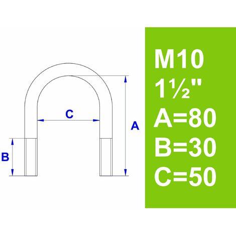 """Bügelschraube, ohne Zubehör, 1 1/2"""" (48,3 mm) - M10"""