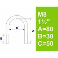 """Bügelschraube, ohne Zubehör, 1 1/2"""" (48,3 mm) - M8"""
