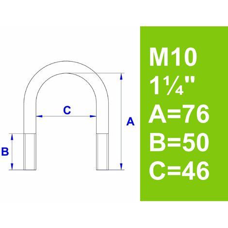 """Bügelschraube, ohne Zubehör, 1 1/4"""" (42,4 mm) - M10"""
