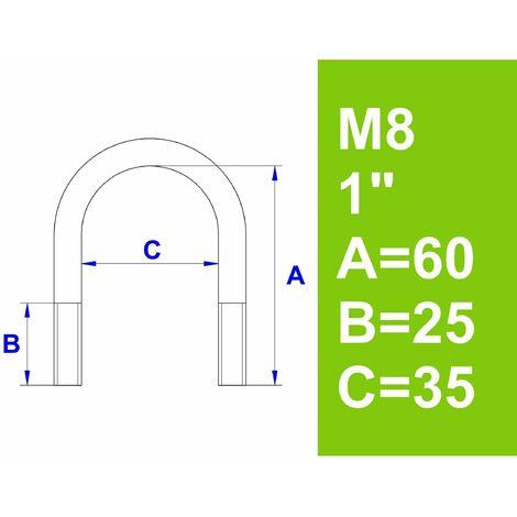 """Bügelschraube, ohne Zubehör, 1"""" (33,7 mm) - M8, Länge 60 mm"""