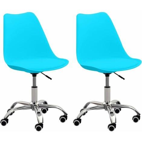 Bürostühle 2 Stk. Blau Kunstleder