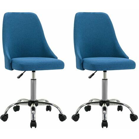 Bürostühle 2 Stk. Blau Stoff