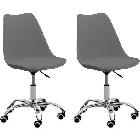 Bürostühle 2 Stk. Grau Kunstleder
