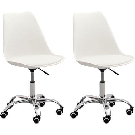 Bürostühle 2 Stk. Weiß Kunstleder