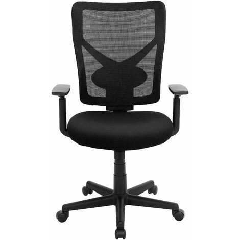 Bürostühle bis 120kg belasrbar Netzrücken höhenverstellbar ergonomisch mit verstellbarer Lendenstütze und Armlehnen Schwarz OBN36BK - Schwarz