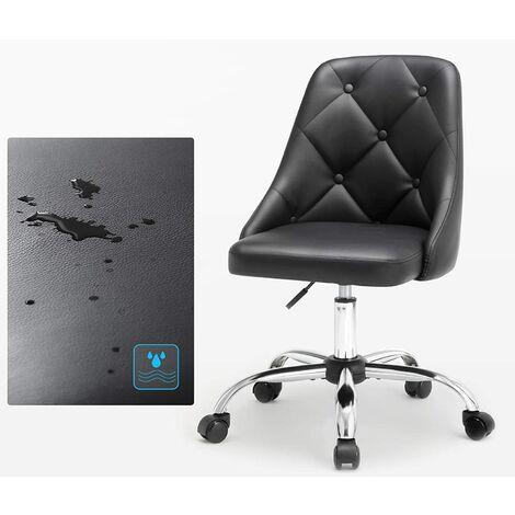 Bürostuhl, bequemer Schreibtischstuhl, höhenverstellbarer Computerstuhl, bis 120 kg belastbar, Stahlgestell, PU-Kunstleder, Homeoffice, Büro, schwarz OBG018B01 - Negro