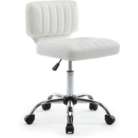 Bürostuhl, Computerstuhl, Bürohocker, Arbeitshocker, Sitzhocker,Höhenverstellbarer Drehstuhl, Ergonomischer Schreibtischstuhl, Chefsessel, Bürohocker, Salon Drehstuhl, Bürosessel, Drehhocker auf Rollen, Weiß-IWMH