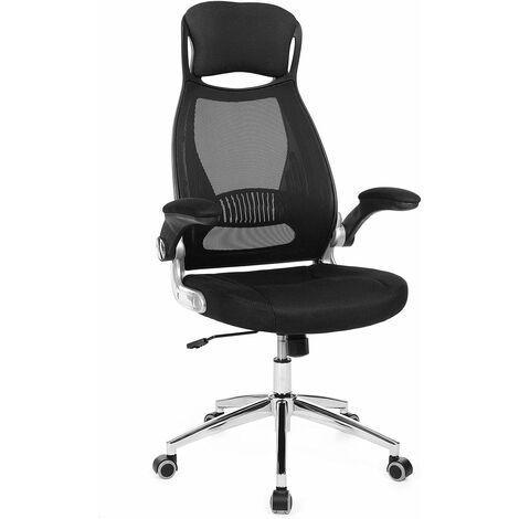 Bürostuhl, Drehstuhl, Chefsessel, Bürodrehstuhl mit Kopfstütze, klappbare Armlehnen, Wippfunktion, Schwarz OBN86BK - Negro
