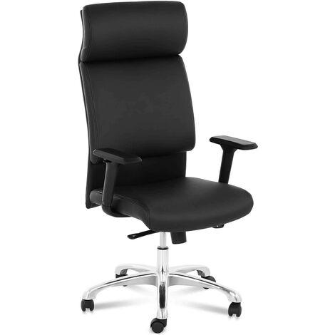 Bürostuhl ergonomisch Drehstuhl Chefsessel Kunstleder Chrom Kopfstütze 150 kg