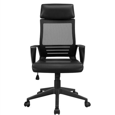 Bürostuhl Ergonomischer Schreibtischstuhl Drehstuhl mit Kopfstütze Kunstleder Computerstuhl Bürodrehstuhl höhenverstellung, mit hoher Rückenlehne Mesh Netzbezug