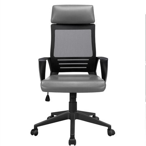 Bürostuhl Ergonomischer Schreibtischstuhl Drehstuhl mit Kopfstütze Kunstleder Computerstuhl Bürodrehstuhl mit hoher Rückenlehne Schwarz