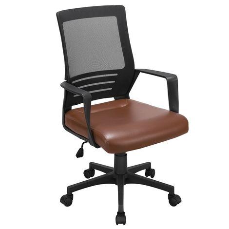 Bürostuhl ergonomischer Schreibtischstuhl Kunstleder Bürodrehstuhl höhenverstellbar Computerstuhl verstellbares Office Chair Drehstuhl mit Netzrückenlehne