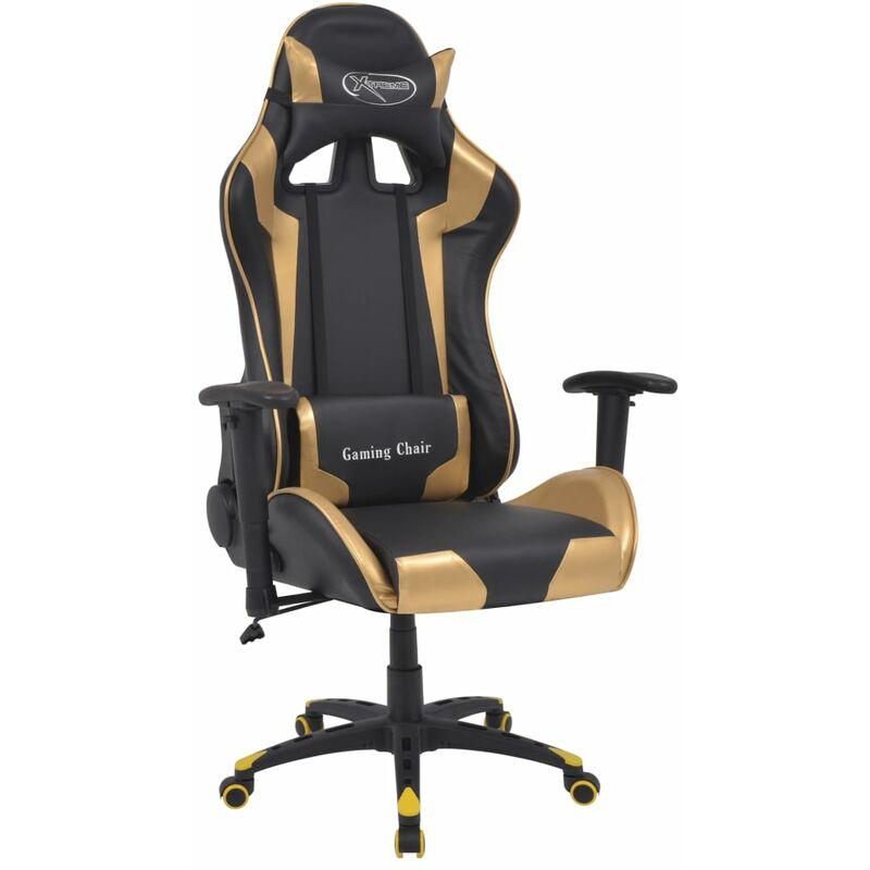 Bürostuhl Gaming Stuhl Neigbar Kunstleder Gold
