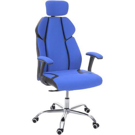Bürostuhl HHG-182, Schreibtischstuhl Drehstuhl Racing-Chair, Sliding-Funktion Stoff/Textil + Kunstleder