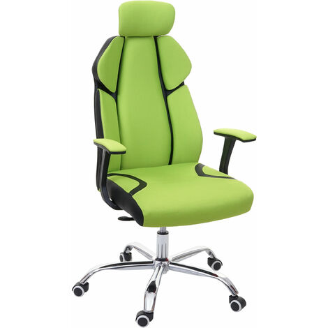 Bürostuhl HHG-182, Schreibtischstuhl Drehstuhl Racing-Chair, Sliding-Funktion Stoff/Textil + Kunstleder ~ grün/schwarz