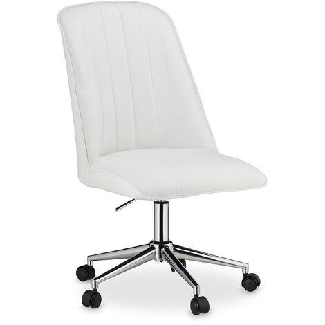 Bürostuhl, höhenverstellbar, drehbar, Gasdruckfeder, Stoffbezug, 100 kg belastbar, Schreibtischstuhl, weiß