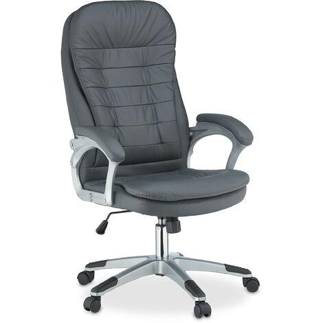 Bürostuhl höhenverstellbar, ergonomisch, drehbar, mit Armlehnen, Kunstleder, 100kg, Schreibtischstuhl, grau