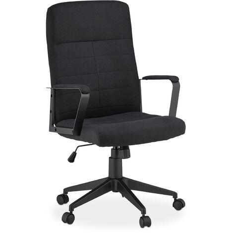 Bürostuhl höhenverstellbar, ergonomisch, drehbar, mit Armlehnen, Stoffbezug, 100kg, Schreibtischstuhl, schwarz